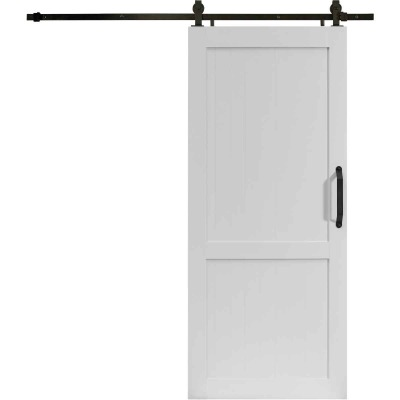 Millbrooke 36 In. x 84 In. x 1.3 In. H-Style White PVC Barn Door Kit