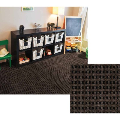 Smart Transformations 24 In. x 24 In. Espresso Mosaic Carpet Tile (15-Pack)