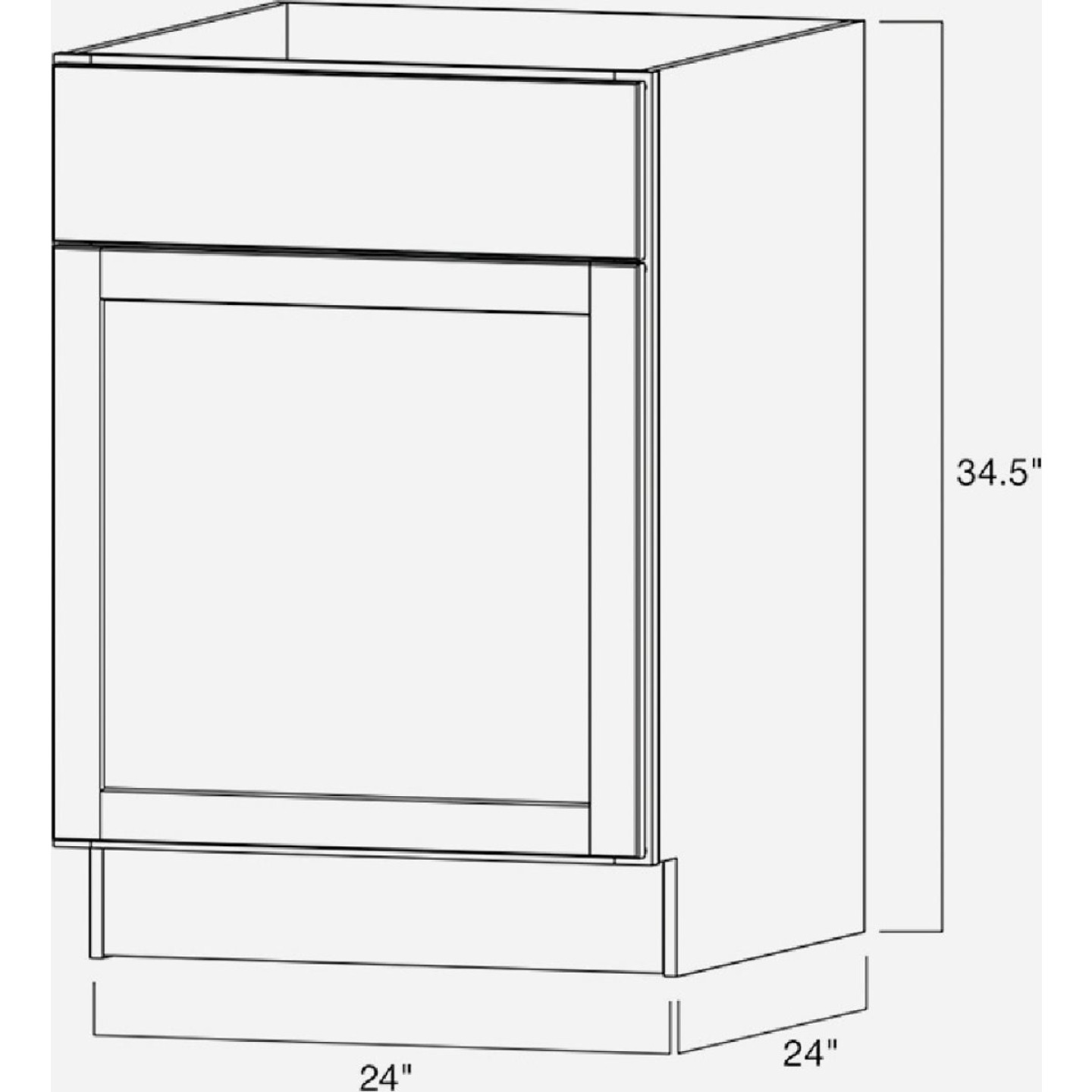 Continental Cabinets Andover Shaker 24 In. W x 34 In. H x 24 In. D White Thermofoil Base Kitchen Cabinet Image 4