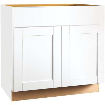 Continental Cabinets Andover Shaker 36 In. W x 34-1/2 In. H x 24 In. D White Thermofoil Sink Base Kitchen Cabinet