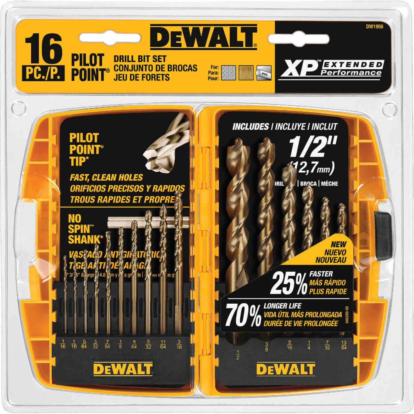 DeWalt XP16-Piece Titanium Pilot Point Drill Bit Set, 1/16 In. thru 1/2 In. Image 1