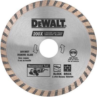 DeWalt High Performance 4-1/2 In. Turbo Rim Dry/Wet Cut Diamond Blade, Bulk