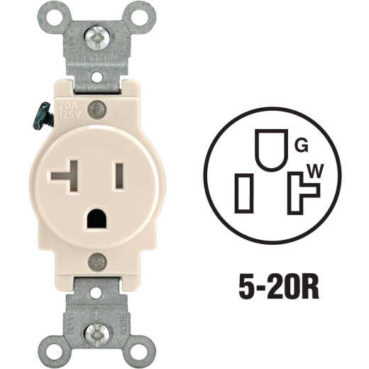 Leviton 20A Light Almond Commercial Grade 5-20R Tamper Resistant Single Outlet