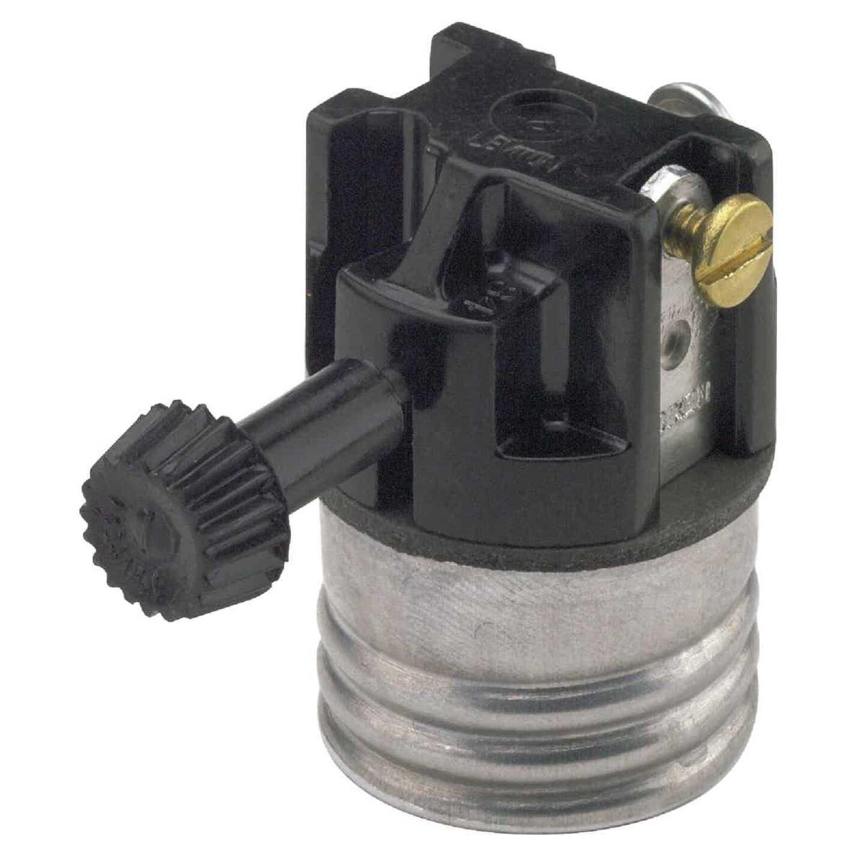 Leviton Turn-Knob Medium Base Black Phenolic 3-Way Interior Lamp Socket Image 1