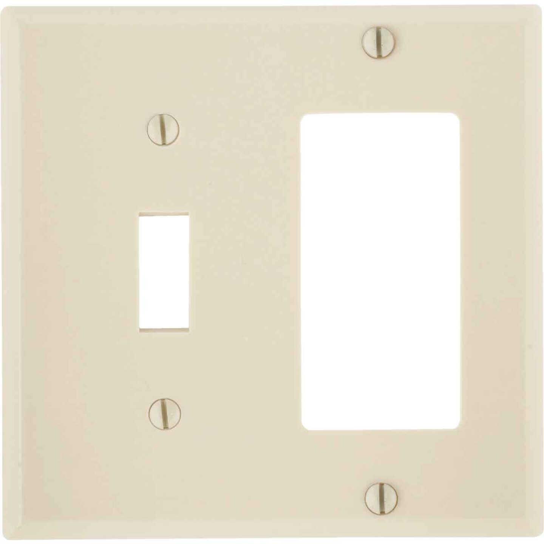 Leviton Decora 2-Gang Thermoset Single Toggle/Rocker Wall Plate, Ivory Image 1