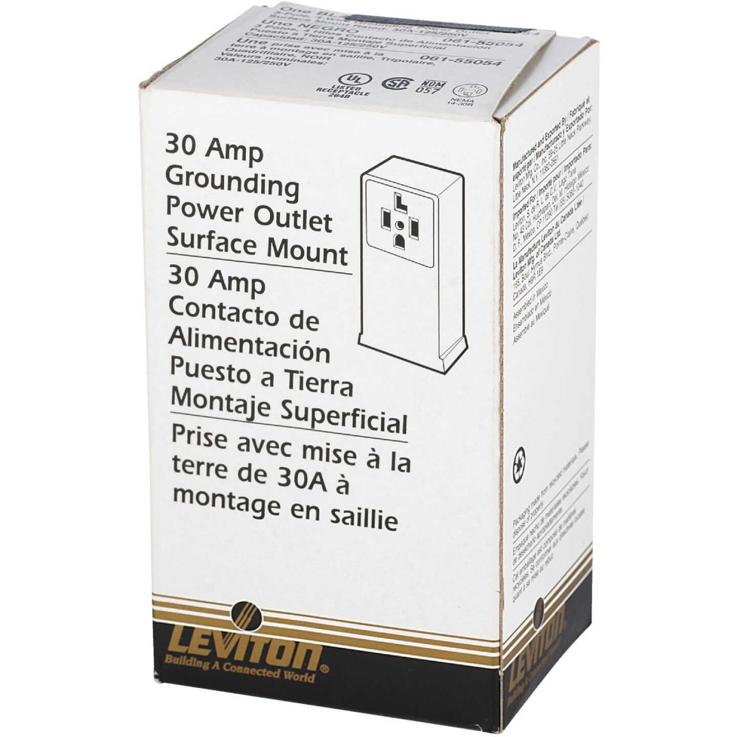 Leviton 30A Surface Mount Black 14-30R 4-Wire Dryer Power Outlet Image 2