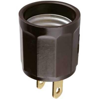 Leviton 600W 125V Brown Outlet to Light Socket Adapter