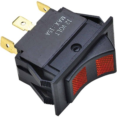 Seachoice 15A 12V Black Rocker Switch, On (Red)/Off/On (Red)