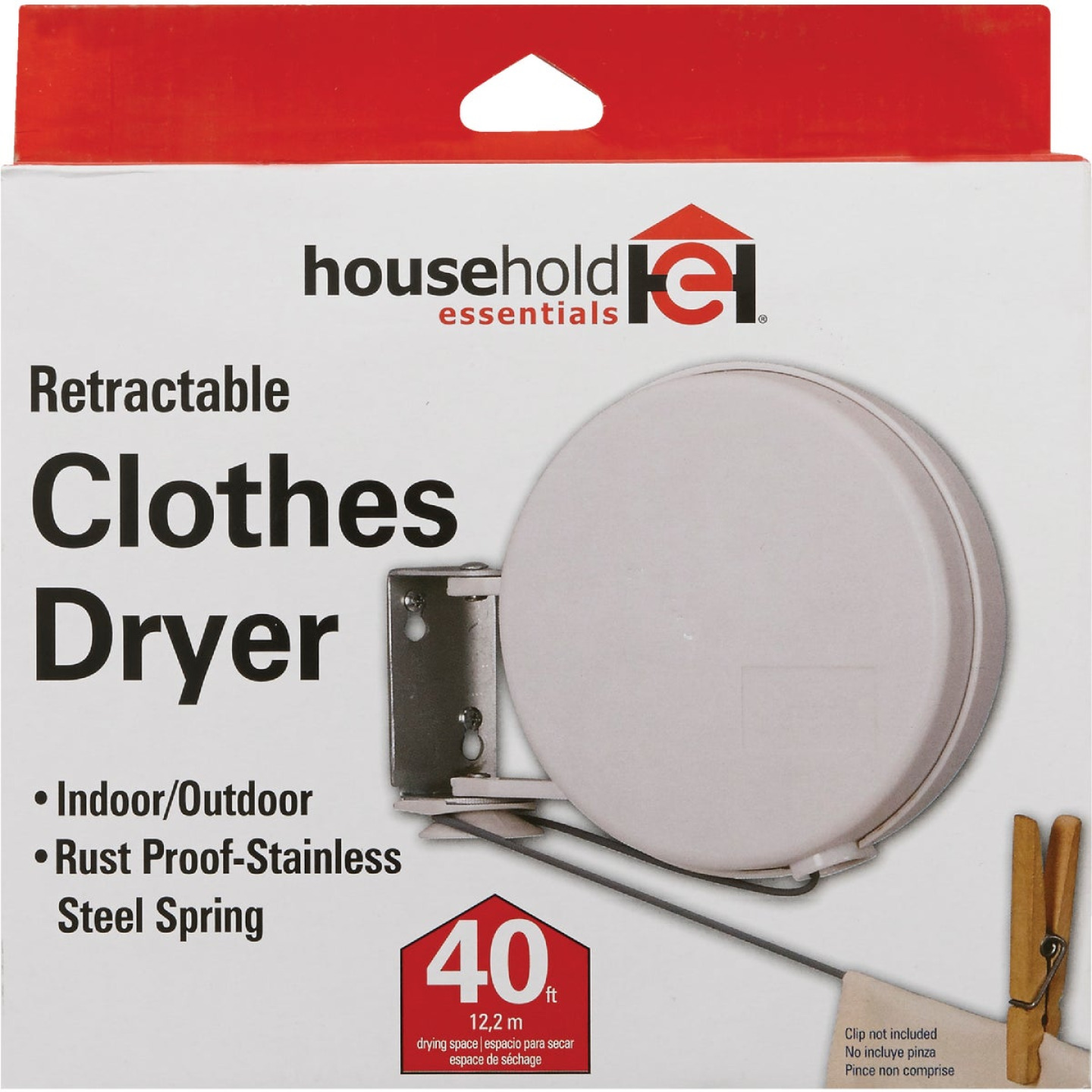 Household Essentials Sunline 40 Ft. 75 to 100 Lb. Capacity Plastic Retractable Clothesline Image 2