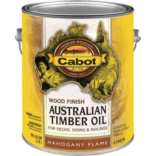 Cabot Australian Timber Oil Water Reducible Translucent Exterior Oil Finish, Mahogany Flame, 1 Gal.