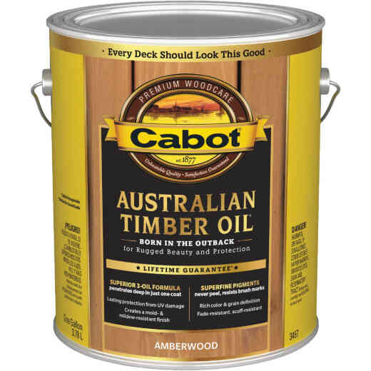 Cabot Australian Timber Oil Translucent Exterior Oil Finish, Amberwood, 1 Gal.