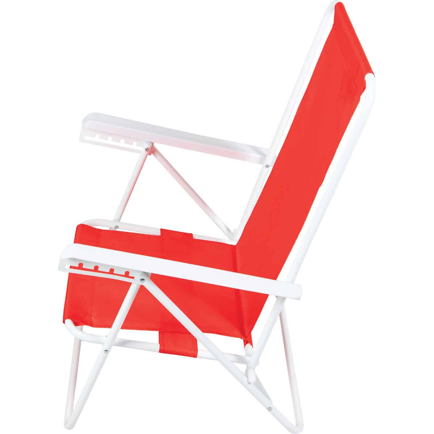Rio Brands Wave 5-Position Persimmon Red Steel Folding Beach Chair Image 6
