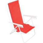 Rio Brands Wave 5-Position Persimmon Red Steel Folding Beach Chair Image 1