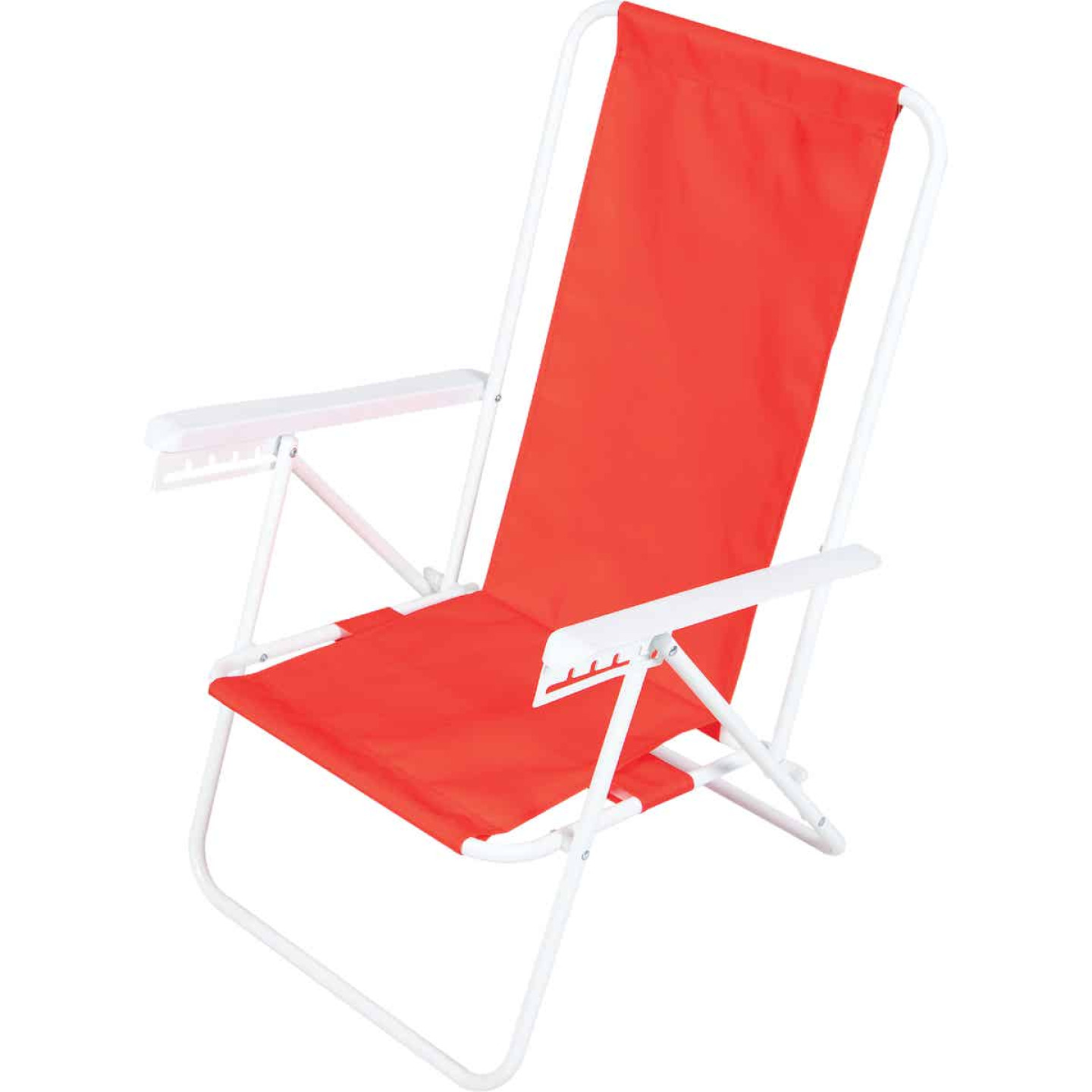 Rio Brands Wave 5-Position Persimmon Red Steel Folding Beach Chair Image 5